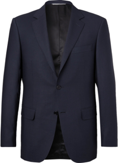 Navy Travel Mélange Wool-hopsack Blazer - Navy