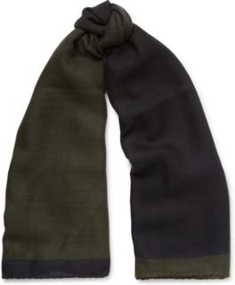 Herringbone Cashmere And Silk-blend Scarf - Green