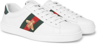 Ace Watersnake-trimmed Embellished Leather Sneakers - White