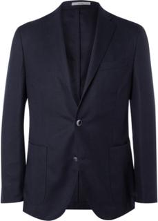 Blue Slim-fit Wool-hopsack Blazer - Navy