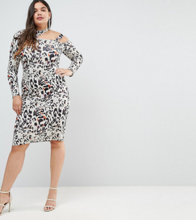 ASOS CURVE Midi Dress in Animal Print with Cut Away Neck-Multi