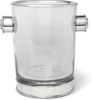 Glass, Silver-tone And Mother-of-pearl Champagne Bucket - Clear