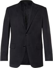 Navy 10-pocket Stretch Wool And Silk-blend Blazer - Navy