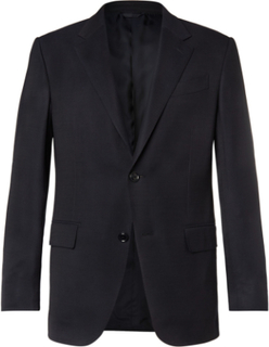 Navy 10-pocket Stretch Wool And Silk-blend Blazer - Navy