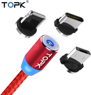 TOPK Magnetic Data Line Magnetic Android TYPE-C Nylon Luminous Charging Line Can Be Rotated Three In One