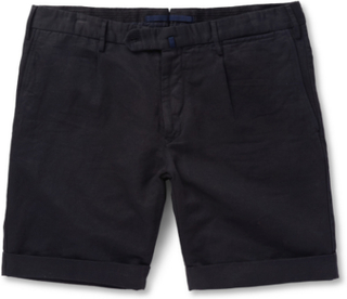 Slim-fit Linen And Cotton-blend Shorts - Navy