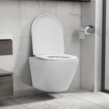 vidaXL Toalettstol vägghängd utan spolkant keramisk vit