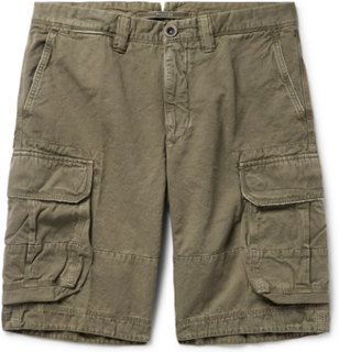 Cotton And Linen-blend Cargo Shorts - Sage green