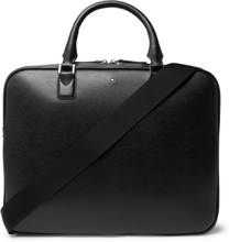 Sartorial Cross-grain Leather Briefcase - Black