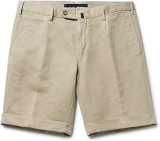 Slim-fit Linen And Cotton-blend Shorts - Sand