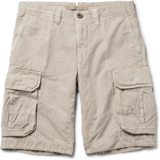 Washed Cotton And Linen-blend Cargo Shorts - Neutral