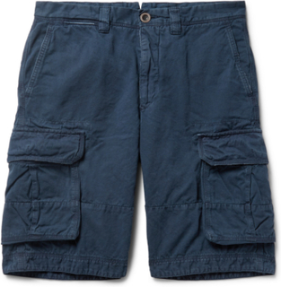 Washed Cotton And Linen-blend Cargo Shorts - Navy