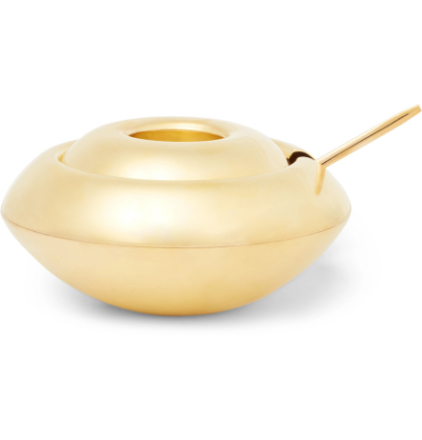 Form Brass Sugar Bowl And Spoon Set - Gold