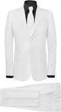 Vidaxl tvådelad kostym med slips herrar vit strl. 52