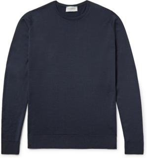 Lundy Slim-fit Merino Wool Sweater - Midnight blue