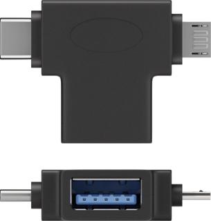 Goobay USB T-adapter [1x USB 3.0 tilslutning A - 1x USB 2.0 stik Mikro-B, USB-C stik] T-Adapter USB-A auf USB 2.0 Micro-B, USB A 2.0, schwarz