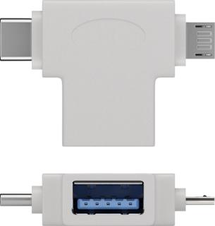 Goobay USB T-adapter [1x USB 3.0 tilslutning B - 2x USB 2.0 stik Mikro-B, USB-C stik] T-Adapter USB-A auf USB 2.0 Micro-B, USB A 2.0, weiß
