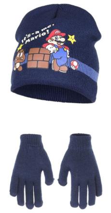 Super Mario lue & hansker (Navy/Mørk blå)