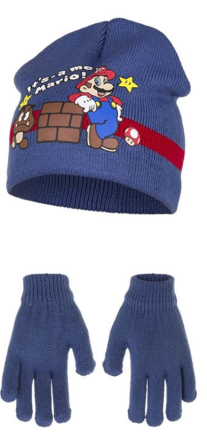 Super Mario lue & hansker (Blå)