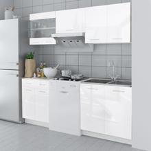 vidaXL Köksskåp 5 delar 200 cm högglans vit