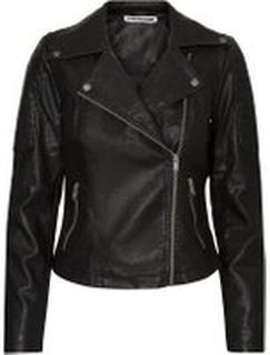 NOISY MAY Leather-look Jacket Kvinna Svart