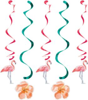 5 Hängade flamingo och blomm dekorationer One-size