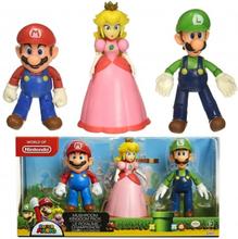 Super Mario 3-Pack Mushroom Kingdom Playset Figurer 10-12cm