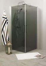 Noro Fix Trend duschhörn, silvermatta profiler, rökfärgat glas, 80x90 cm, vändbar