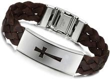 Armband rostfritt stål Butler brunt