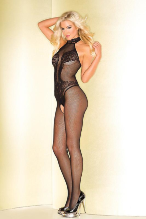 Be Wicked Fishnet Catsuit med blonder krop Print Sort One Size