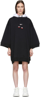 MSGM Black Double Hooded Short Dress