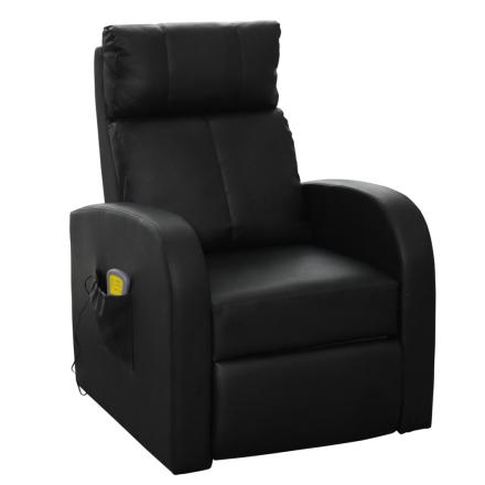 vidaXL Elektrisk massagefåtölj med fjärrkontroll svart