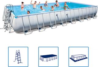 Bestway Rektangulärt pool set med stålram 956 x 488 x 132 cm 56479
