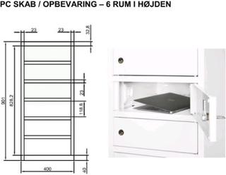 PC skab Opbevaring af laptop m.m. 6 rum med EL. Cylinderlås