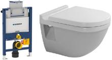 Komplett pakke m/Geberit Omega 82 cm sisterne, Duravit Starck 3 toalett og softclose sete - uten betjeningsplate