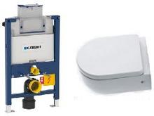 Komplett pakke m/Geberit Omega 82 cm sisterne, Lavabo Flo toalett og softclose sete - uten betjeningsplate