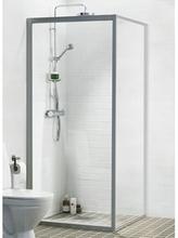 Ifö Solid dusjvegg SV 90x195 cm, Klart Glass / Alu Profil