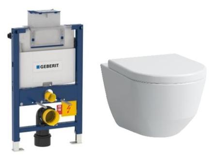 Komplett pakke m/Geberit Omega 82 cm sisterne, Laufen Pro 3 toalett og softclose sete - uten betjeningsplate