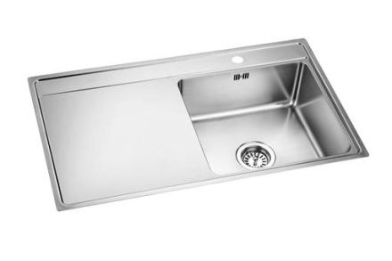 Prisma Orlando Diskbänk 85x50,6 cm m/Korgventil Rostfritt stål