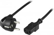 Deltaco apparatkabel, PC vägg, vinklad CEE 7/7 - rak IEC C13, 10m
