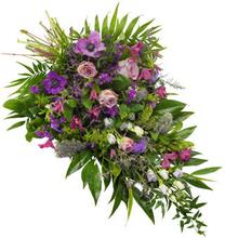 Bårebukett i lilla og fiolett