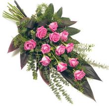Bårebukett med rosa roser