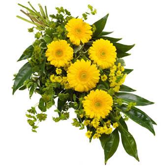 Bårebukett i gule farger
