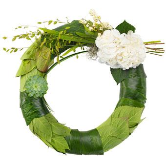 Begravelseskrans i grønt og hvitt