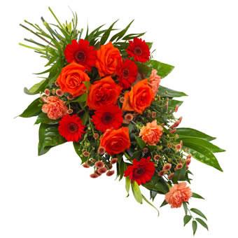 Bårebukett i oransje og rødt