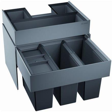 Blanco Select 60/3 ORGA Avfallssystem, 3 bøtte & skuffe, Monteres i skap med uttrekk