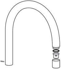 Børma C-tut 200 mm til kjøkkenarmatur, Krom