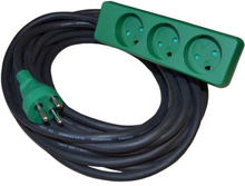 Blue Electric Stikdåse med 3 udtag, Slagfast, Med jord, 10 meter, Grøn/sort