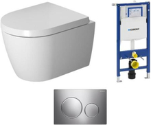 Komplet pakke m/Geberit Sigma cisterne, trykknapper, Duravit ME by Starck Compact Hængeskål & Soft Close sæde