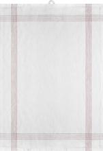 Signerat Handduk Röd smal rand 50x70 cm